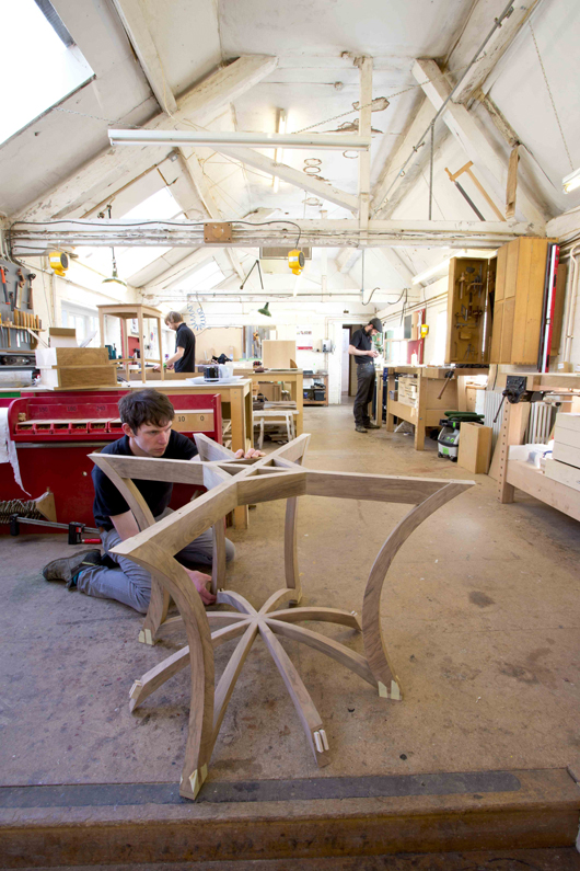 The Edward Barnsley Workshop near Petersfield, Hampshire, where exquisite, craftsman-designed furniture is still made to the same exacting standards established by their illustrious founder. Image courtesy of Edward Barnsley Studios.