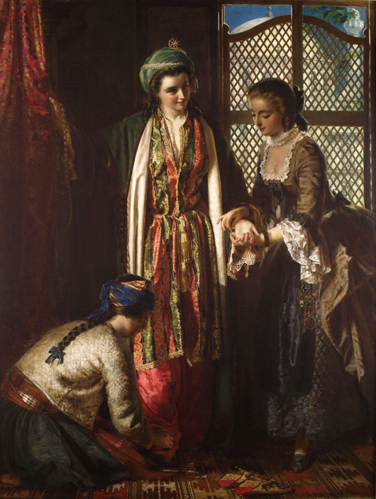 This oil on canvas titled 'Lady Mary Wortley Montague in Turkey' by Jerry Barrett (1824-1906) was among the highlights of the British Antique Dealers' (BADA) Fair in Chelsea from March 19 to 25, where it sold at the asking price of £180,000 ($300,130) to a private UK buyer. Image courtesy of Sutcliffe Galleries.