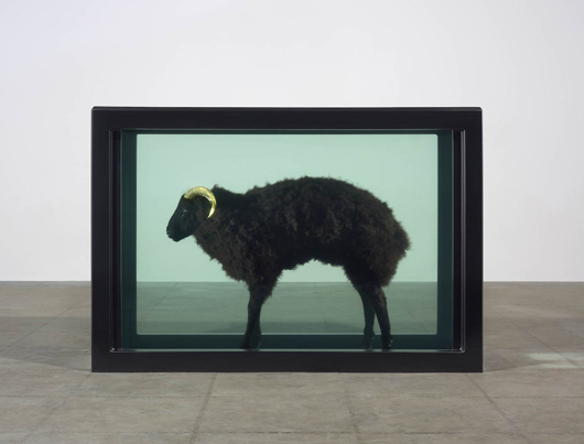 Damien Hirst's 'Black Sheep with Golden Horns' (2009), priced at £2,250,000 ($3,750,000) on the stand of London dealers Tomasso Brothers Fine Art at the European Fine Art Fair in Maastricht. Image courtesy Tomasso Brothers.