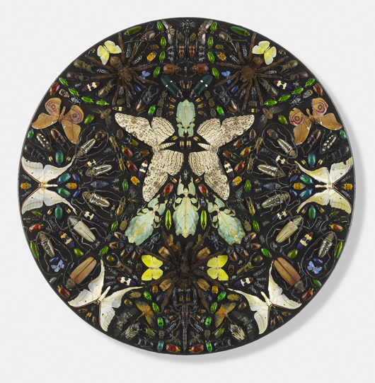 Damien Hirst, 'Styx,' entomological specimens and Hammerite paint on canvas, priced at £200,000 ($332,750) with Tomasso Brothers at the TEFAF Fair. Image courtesy Tomasso Brothers.