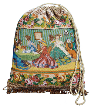 This early 19th-century beaded pouch bag pictures ladies at tea on one side and around a piano on the other. The beading, fringe and silk lining are in excellent condition. It sold recently for $1,026 at a Theriault's auction in California.