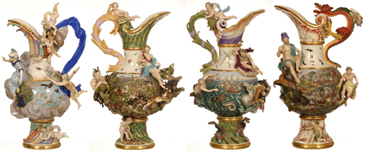 Set of four 25-inch Meissen pedestal handled ewers representing the four elements. Price realized: $57,500. Woody Auction image.