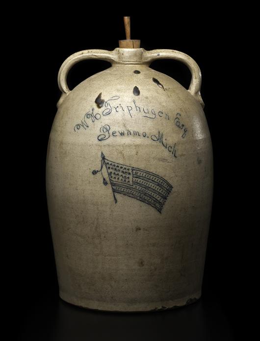 Monumental W.H. Triphugen (Triphagen) Pewamo, Mich., double-handle stoneware merchant's jug. Estimate $8,000-$12,000. Cowan's Auctions Inc.