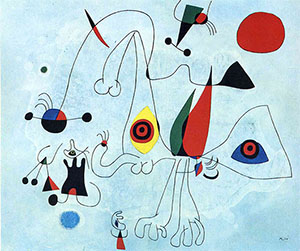 A well-know work by Joan Miro in the collection of the Fundacio Joan Miro, Barcelona, Spain, and not one of Portugal's paintings. Fair use of low-resolution image in accordance with the terms of U.S. Copyright Law. Image courtesy of Wikipaintings.org.