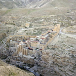 Areal view of the famous fifth century Mar Saba Monastery located east of Bethlehem in the West Bank. Image by Godot13. This file is licensed under the Creative Commons Attribution-Share Alike 3.0 Unported license.