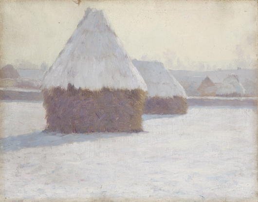 One of two works by California master Guy Rose offered in this sale, 'Winter Haystacks at Crecy-en-Brie' found a new home for $120,000 (estimate: $100,000 - $150,000). John Moran Auctioneers image.