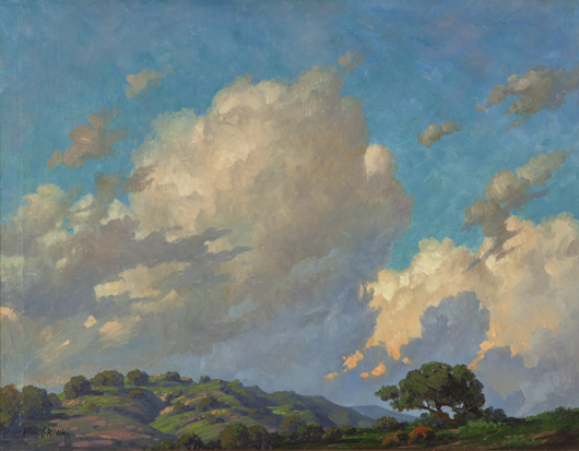 This work by Paul Grimm titled 'California Clouds,' broke the artist's auction record with a price realized of $30,000 (estimate: $7,000 - $9,000). John Moran Auctioneers image.
