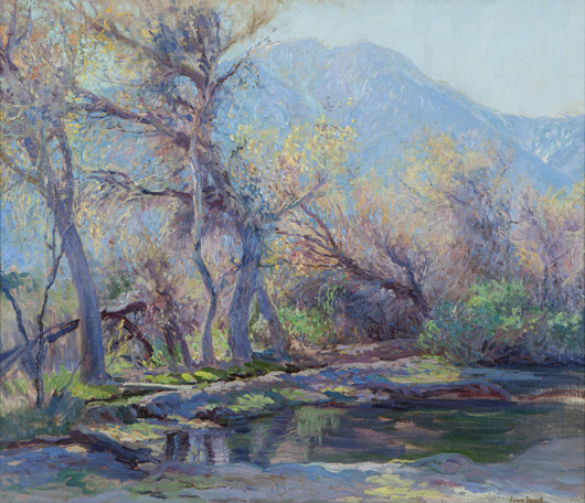 John Frost's work, 'San Jacinto, Palm Springs,' incited a bidding frenzy, selling for $85,750 (estimate: $50,000 - $70,000). John Moran Auctioneers image.