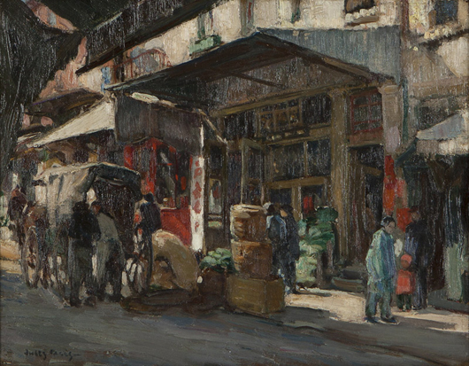 Jules Pages' 'Chinatown, San Francisco,' was given an estimate of $10,000 - $15,000, and found a buyer for $16,800. John Moran Auctioneers image.