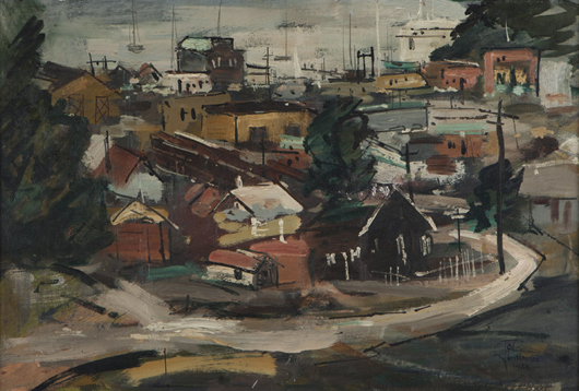 'Tiburon,' a charming portrait of the California coastal town, earned $4,287.50, setting the record for Ted Christensen's work at auction. John Moran Auctioneers image.