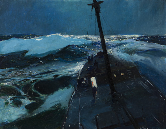 This work by Massachusetts artist John Whorf titled 'Southern Cruiser' was expected to fetch $15,000 - $20,000 at Moran's March 25 auction, but bidding topped out at $30,000. John Moran Auctioneers image.