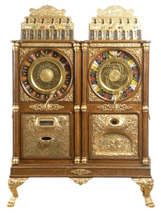 Caille double-upright floor model slot machine combining 5-Cent Centaur and 25-Cent Big Six models, est. 100,000-$120,000. Morphy Auctions image