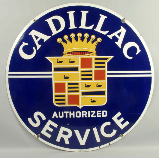 Cadillac Authorized Service double-sided porcelain sign, est. $3,000-$4,000. Morphy Auctions image