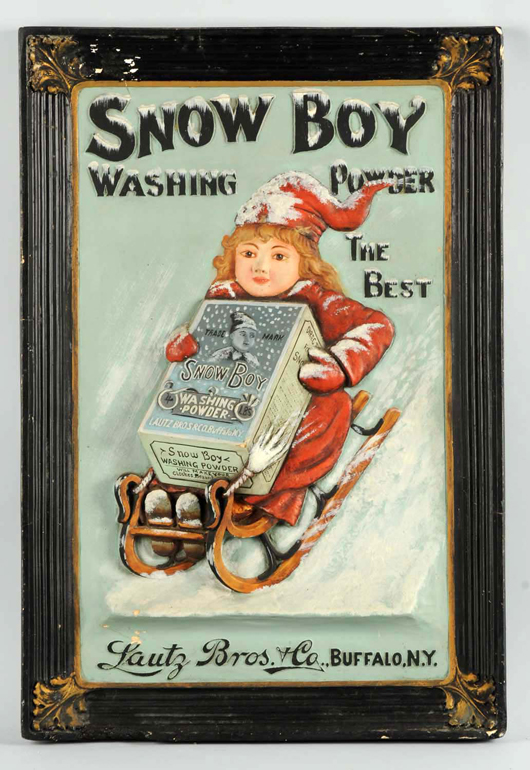 Three-dimensional sign advertising Snow Boy Washing Powder, est. $7,000-$10,000. Morphy Auctions image