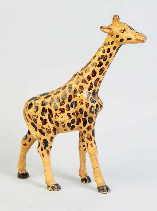 Hubley cast-iron giraffe doorstop, 13in tall, est. $6,000-$9,000. Morphy Auctions image