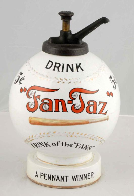 Fan-Taz syrup dispenser, circa 1900, ceramic, baseball shape and theme, est. $30,000-$60,000. Morphy Auctions image