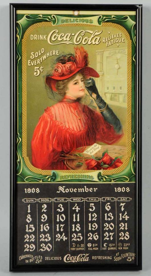 1908 Coca Cola calendar, est. $2,500-45,000. Morphy Auctions image