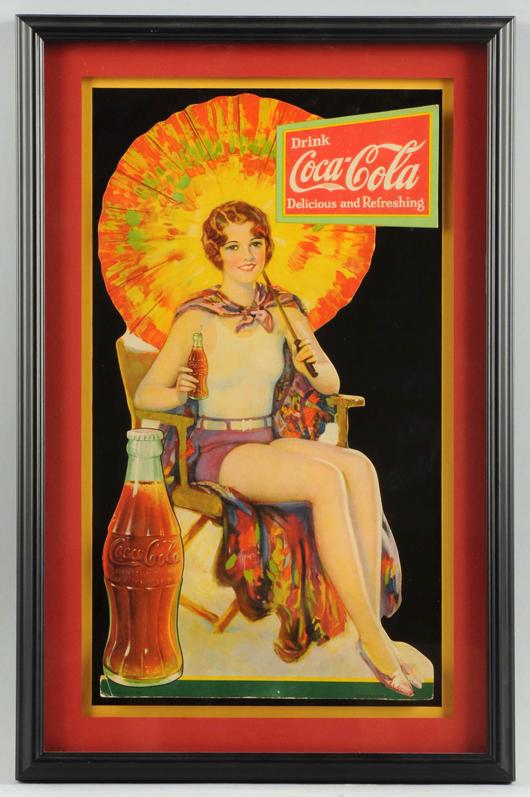 1931 Coca-Cola cardboard cutout easel sign, est. $3,000-$5,000. Morphy Auctions image