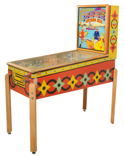 1955 Gottlieb Southern Belle pinball machine, est. $1,200-$1,500. Morphy Auctions image