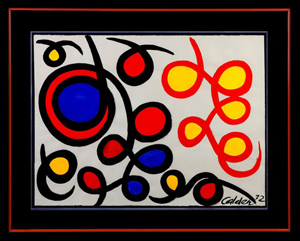 Bold original gouache painting by Alexander Calder, titled 'Loops Filled In.' Price realized: $78,200. Cottone Auctions image.