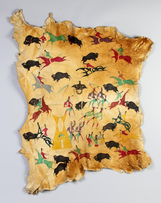 Native American elk skin hide showing war dance and hunting scenes, 60 inches by 50 inches.  Price realized: $18,500. Cottone Auctions image.