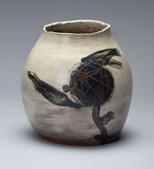 From Joan B. Mirviss Ltd., Yangi Kazuo (1918-1979), asymmetrical sculpted vessel, 1970, glazed stoneware. Asia Week New York image.