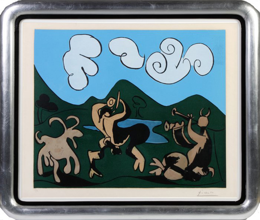 Color linocut on Arches paper by Pablo Picasso (#26 of 50), titled 'Faunes et Chevre.' Price realized: $78,200. Cottone Auctions image.