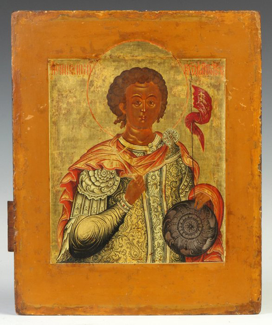 Early Russian icon, Moscow School, showing St. George the Warrior, 11 inches x 13 inches. Price realized: $19,300. Cottone Auctions image.