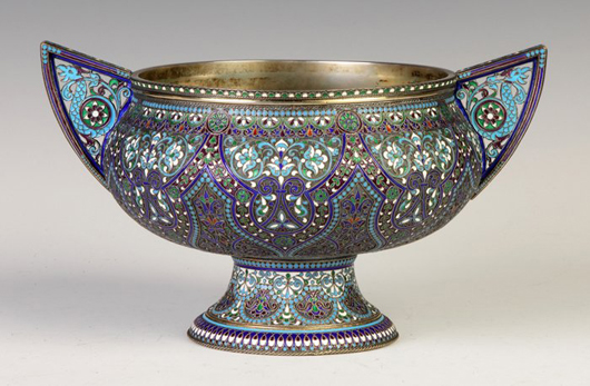Enameled Russian silver-handled vase, circa 1900, 39 troy ounces of 800 silver. Price realized: $17,800. Cottone Auctions image.