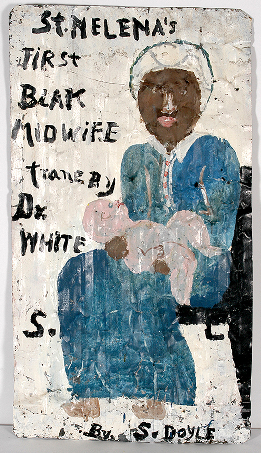 Lot 135 – Sam Doyle, 'St. Helena's First Blak Midwife Trane By Dr. White,' circa 1980s, signed and titled, house paint on found roofing tin, 28in x 50in. Est. $25,000-$35,000. Slotin Folk Art image.