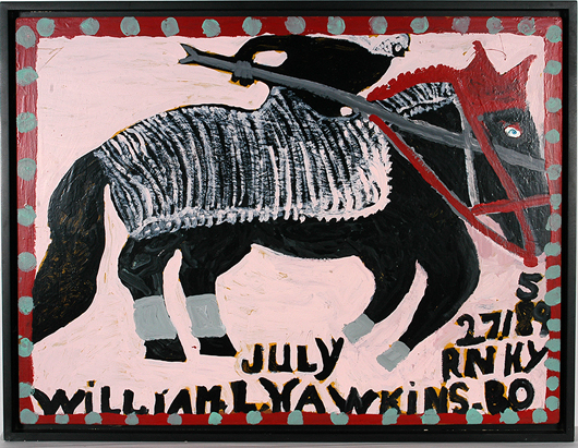 Lot 141 – William Hawkins, 'Rider On Horseback,' 1988, Signed and dated with Hawkins' birthdate, enamel on Masonite, image 48in x 36in. Est. $20,000-$30,000. Slotin Folk Art image.