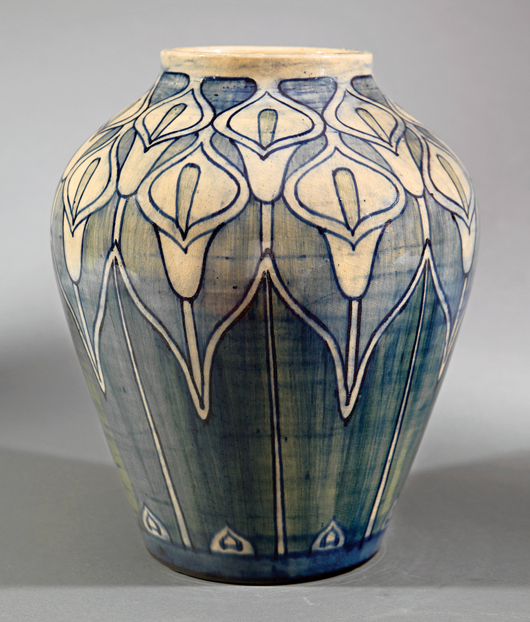 The resurgence of the market for Newcomb was apparent last November when this large high-glaze vase, decorated with calla lilies by Mary Williams Butler in 1902, brought $35,850. Courtesy Neal Auction Co.