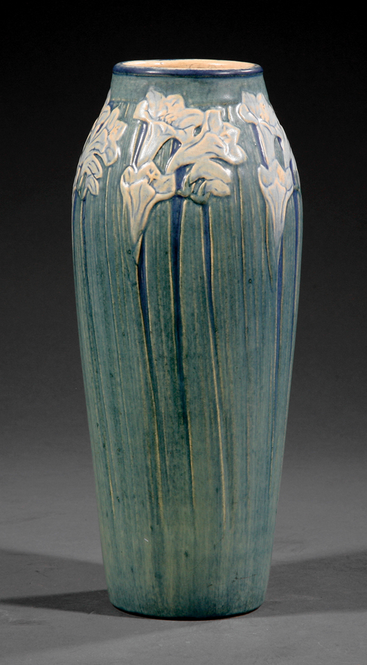 A Newcomb Pottery floral vase decorated by Anna Frances Simpson, 1911, will be among the offerings in the April 25-27 auction at the Neal Auction Co. in New Orleans. Courtesy Neal Auction Co.