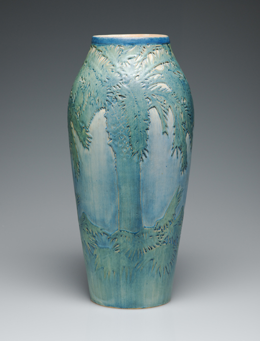 'Women, Art, & Social Change,' a traveling exhibition organized by the Newcomb Art Gallery, unites the famous art pottery, such as this exquisite palm vase by an unknown decorator, with the textiles and metalwork created by women at the college. Courtesy Newcomb Art Gallery; collection of Don Fuson.