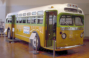 The No. 2857 bus on which Parks was riding before her arrest. The restored bus is on display at the Henry Ford museum in Dearborn, Mich.This file is licensed under the Creative Commons Attribution-Share Alike 3.0 Unported license.