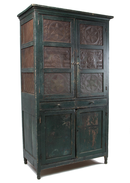 Lot 422, an important painted poplar and pine closet/pie safe made in Lexington, Rockbridge County, Va., by Matthew S. Kahle and John Henson sold for $25,300. Jeffrey S. Evans & Associates image.