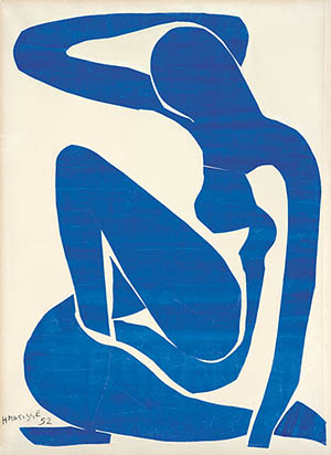 Henri Matisse (1869 -1964) 'Blue Nude (I)' 1952, gouache painted paper cut-outs on paper on canvas, 106.30 x 78cm. Foundation Beyeler, Riehen/BaselDigital image: Robert Bayer, BaselArtwork: © Succession Henri Matisse/DACS 2014.