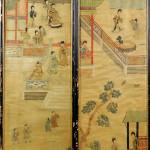 Rare pair of Chinese fabric panels. Woodbury Auction image.