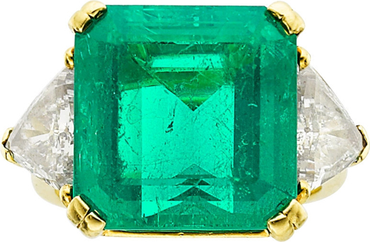 Colombian emerald, diamond, gold ring, Kurt Wayne, 16.70 carats, enhanced by triangle-shaped diamonds weighing a total of approximately 2.50 carats. Estimate: $150,000-$200,000. Heritage Auctions image.