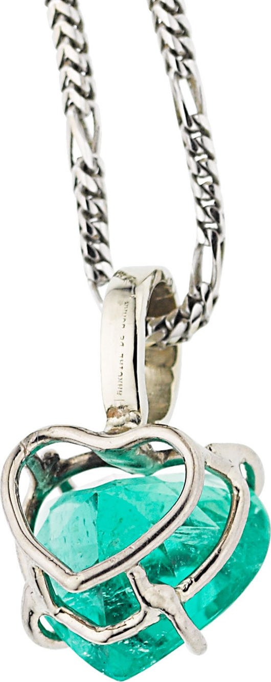 Emerald, white gold necklace with heart-shape emerald measuring 9.88 x 11.05 x 6.60 mm and weighing 3.40 carats, set in 18k white gold, suspended from a 14K white gold chain. Estimate: $25,000-$35,000. Heritage Auctions image.