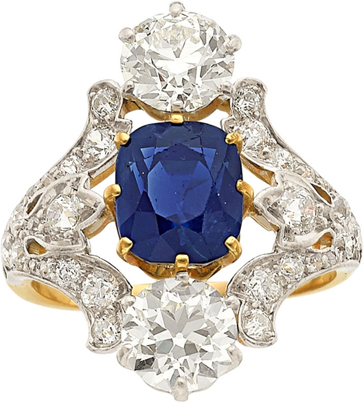 Kashmir sapphire, diamond, platinum-topped gold ring, Tiffany & Co., featuring a cushion-shaped Kashmir sapphire measuring weighing approximately 3.50 carats Estimate: $175,000-$200,000. Heritage Auctions image.