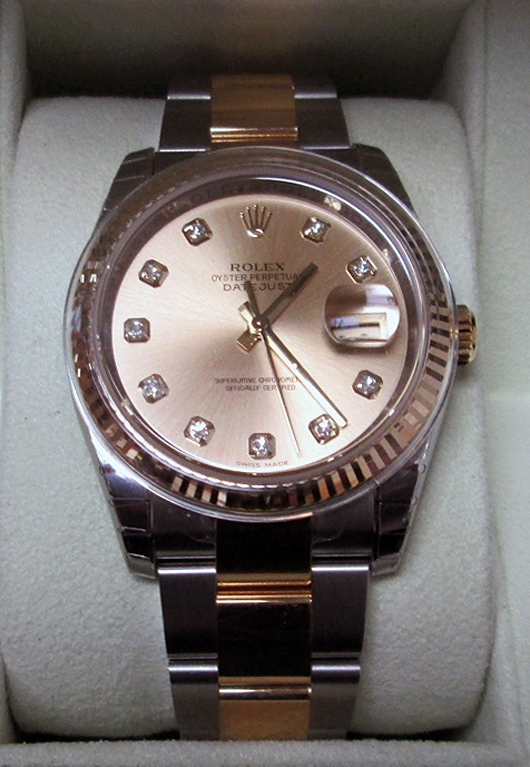 Rolex Oyster Perpetual Datejust gentleman's watch, two-tone steel with 18K yellow gold, diamond dials. New and never worn. Accompanied by original box and papers. Sterling Auctions image