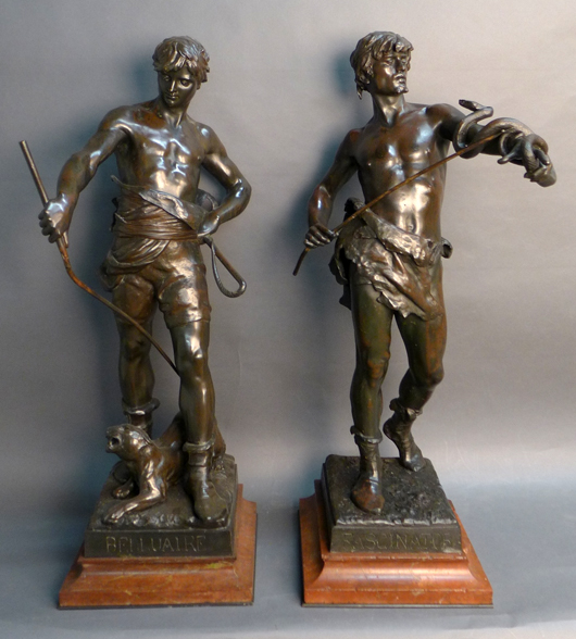 Eugene Marioton (French, 1854-1925), pair of bronze figural sculptures on marble bases, signed and with foundry marks, 36in high. Sterling Auctions image