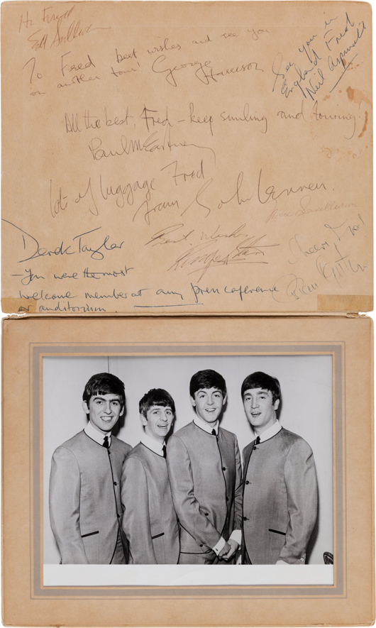 The Beatles, Ed Sullivan and Brian Epstein signatures from their first appearance on the Ed Sullivan Show, Feb. 9, 1964, an 8 x 10 glossy of the Fab Four in a foldover photo album. Estimate: more than $125,000. Heritage Auctions image.