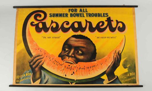 Cascarets Summer Bowel Troubles poster, 43½ x 28in. Est. $1,000-$1,500. Morphy Auctions image