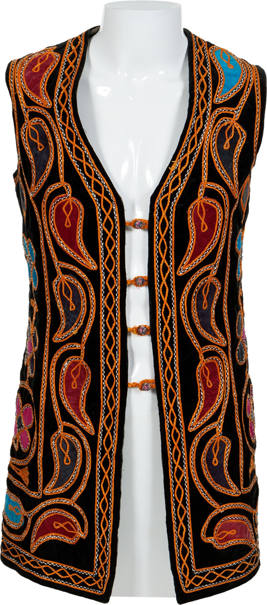 Jimi Hendrix owned and worn long multicolored paisley and flower design velvet vest. Estimate: More than $20,000. Heritage Auctions image.