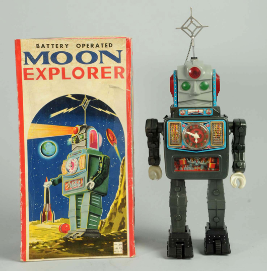 Alps battery-operated Moon Explorer Robot, 15in tall, accompanied by original box. Est. $2,000-$3,000. Morphy Auctions image