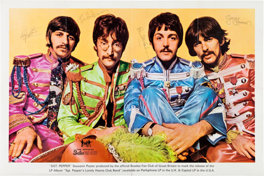 Beatles signed 'Sgt. Pepper's Lonely Hearts Club Band' original fan club poster (UK, 1967) in a framed display. Estimate: more than $75,000. Heritage Auctions image.