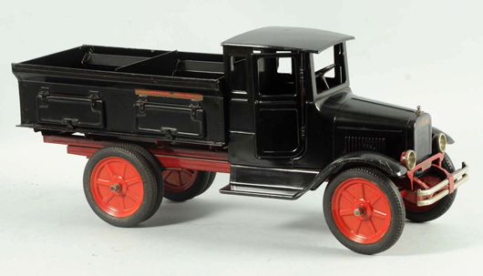 Buddy 'L' pressed-steel Sand & Gravel Truck, 1930-1932, near mint, 25in long. Est. $4,000-$5,000. Morphy Auctions image