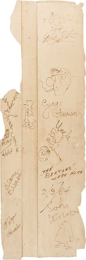 Beatles signed (with individual drawings) stage wall section from Feb. 9, 1964, appearance on the 'Ed Sullivan Show,' approximately 16 inches by 48 inches. Estimate: more than $800,000. Heritage Auctions image.